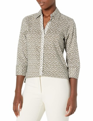 Foxcroft Women's Mary Ikat Geo Wrinkle Free Shirt