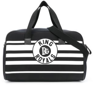 Dolce & Gabbana Striped Canvas Bowling Bag