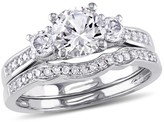 1.04 Count. T.W. Created White Sapphire and 1/7 Count. T.W. Diamond 3-Stone Vintage Bridal Set in 10k White Gold -(5)