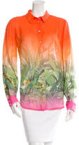 Class Roberto Cavalli Tropical Print Button-Up Blouse