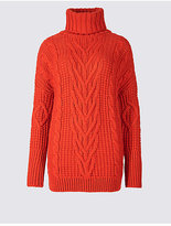 M&S Collection Cable Knit Turtle Neck Jumper