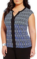 Peter Nygard Plus Trimmed Printed Blouse