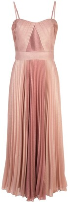 Marchesa Pleated Metallic Mid-Length Dress