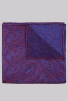 Moss Bros Premium Blue & Red Paisley Silk Pocket Square