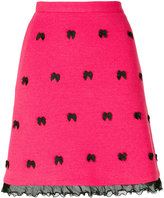 Moschino bow embroidered skirt