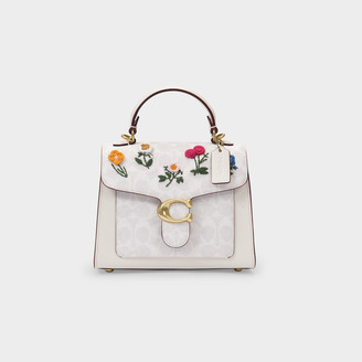 Coach Coated Canvas Signature Floral Embroidery Tabby Top Handle 20