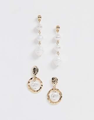 New Look 2 pack faux pearl drop earrings in gold