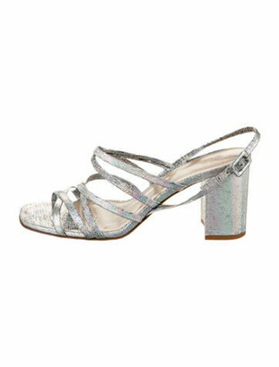 Maryam Nassir Zadeh Patent Leather Slingback Sandals Silver