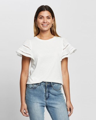 Atmos & Here Atmos&Here - Women's White Short Sleeve Tops - Shiloh Ruffle Sleeve Top - Size 10 at The Iconic