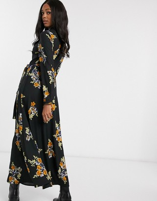 Vero Moda maxi shirt dress in black floral print