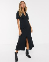 Asos Design DESIGN ultimate midi tea dress with collar in black