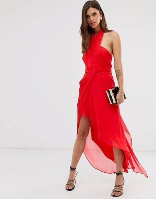 Asos Design DESIGN midi dress in soft chiffon drape with wrap neck-Red