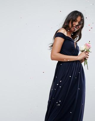 Bardot Asos Design ASOS DESIGN ruched mesh maxi dress