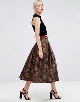 Asos Floral Midi Prom Skirt with Contrast Waistband