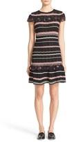 RED Valentino Women's Stripe Crotchet Cotton Dress