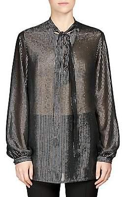 d3a9ebe7d47332 Saint Laurent Women's Silk Metallic Stripe Tie-Neck Blouse