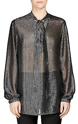 Saint Laurent Women's Silk Metallic Stripe Tie-Neck Blouse