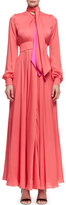 Lanvin Long-Sleeve Silk Tie-Front Gown, Rose