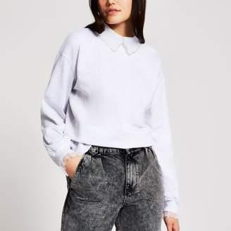 River Island Womens Grey embellished collar sweatshirt
