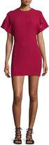 IRO Hilda Short-Sleeve V-Back Mini Sheath Dress, Wine