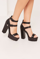 Missguided Black Croc Cleated Platform High Heels Sandals