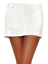 Balmain Faux Leather On Cotton Drill Mini Skirt
