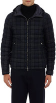 Moncler Men's Quilted Plaid Wool Hooded Coat-NAVY