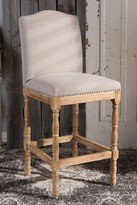 Wholesale Interiors Paige French Vintage Cottage Weathered Oak Finish Wood and Beige Fabric Upholstered Bar Stool