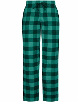 DOKKIA Women's Flannel Pajama Bottoms Buffalo Plaid Checked PJ Pants Lounge Night Sleepwear Pyjama Trousers (Green Black Buffalo XX-Large)