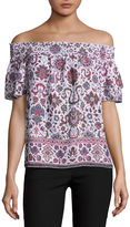 BY AND BY by&by Short Sleeve Boat Neck Dobby Blouse-Juniors