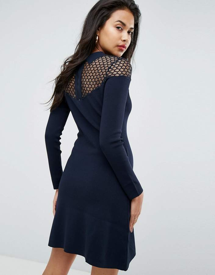 Morgan Knitted Bodycon Dress With Metallic Lace Bust Detail