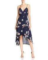 J.o.a. Floral-Embroidered High/Low Midi Dress