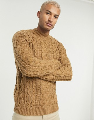 ASOS DESIGN heavyweight cable knit turtle neck jumper in camel