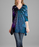 Lily Blue & Purple Radiant Abstract V-Neck Tunic - Plus Too