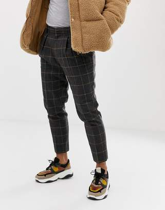 Asos Design DESIGN tapered smart pants in charcoal wool mix window pane check with pleat-Gray