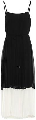 Zimmermann Pleated Two-tone Crepe De Chine Midi Dress