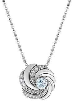 De Beers Women's Aria 18K White Gold & Blue Diamond Swirl Pendant Necklace