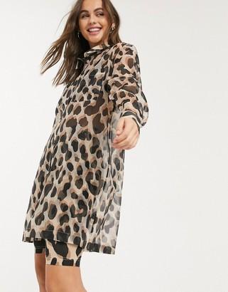 Monki Hester leopard print organza shirt in multi
