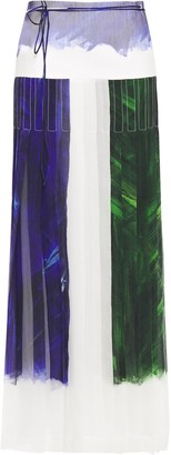 Victoria Beckham Pleated Printed Crinkled Silk-chiffon Maxi Skirt