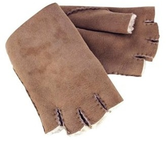 Celtic & Co. Womens Fingerless Sheepskin Gloves - Walnut - Size Large