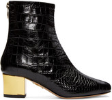 Charlotte Olympia Black Croc-Embossed Winnie Boots