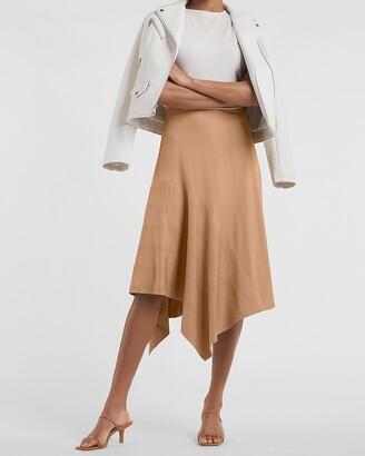 Express High Waisted Ribbed Knit Flounce Midi Skirt