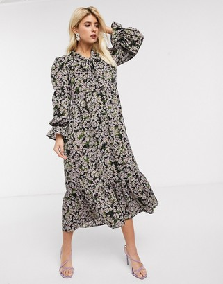 NEVER FULLY DRESSED long sleeve trapeze maxi dress with neck tie in sage green floral