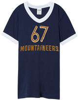 PINK West Virginia University Bling V-Neck Ringer Tee