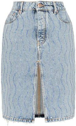 Filles a papa Rhinestone Embellished Denim Skirt