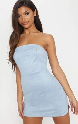 PrettyLittleThing Dusty Blue Faux Suede Bandeau Bodycon Dress