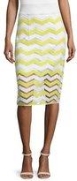 Milly High-Waist Chevron Pencil Skirt, Citron/White