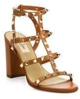 Valentino Rockstud Leather T-Strap Block-Heel Sandals