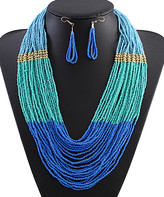 Ella & Elly Women's Necklaces Blue - Blue Beaded Necklace & Multi-Strand Statement Necklace & Earrings