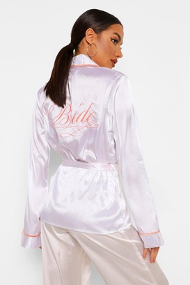 boohoo Bride Embroidered dressing gown